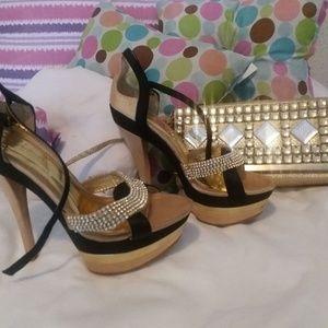 High heels and open bag